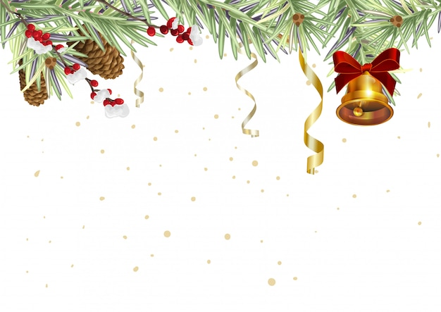 Background for christmas card. spruce branches and golden bell Premium Vector