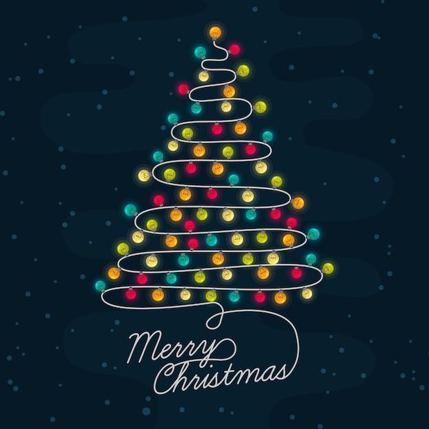 Background christmas tree made of light bulbs Free Vector