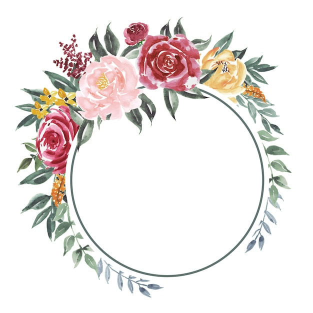 The background of a circle of vintage watercolor flowers Premium Vector