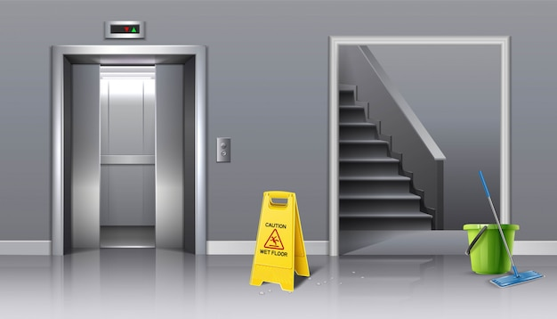 Premium Vector Background Of Cleaning In Progress Lift Hall And Staircase With Yellow Sign Caution Wet And Bucket Of Water With A Mop