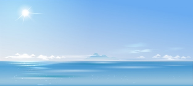 Background cloudy landscape over the sea and Premium Vector