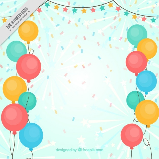 Background of colored balloons and confetti Free Vector