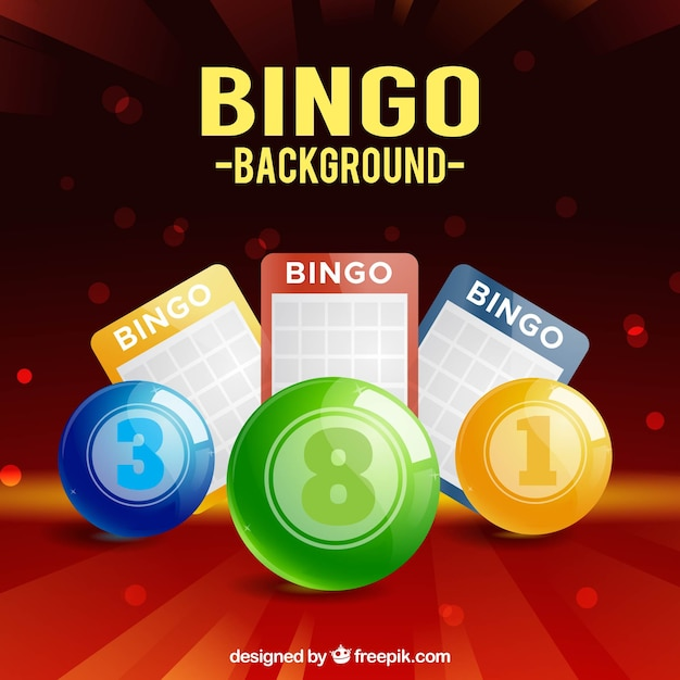 Background of colorful bingo balls and ballot papers Free Vector