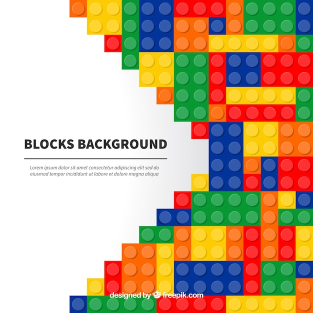 Background of colorful blocks in flat design Free Vector