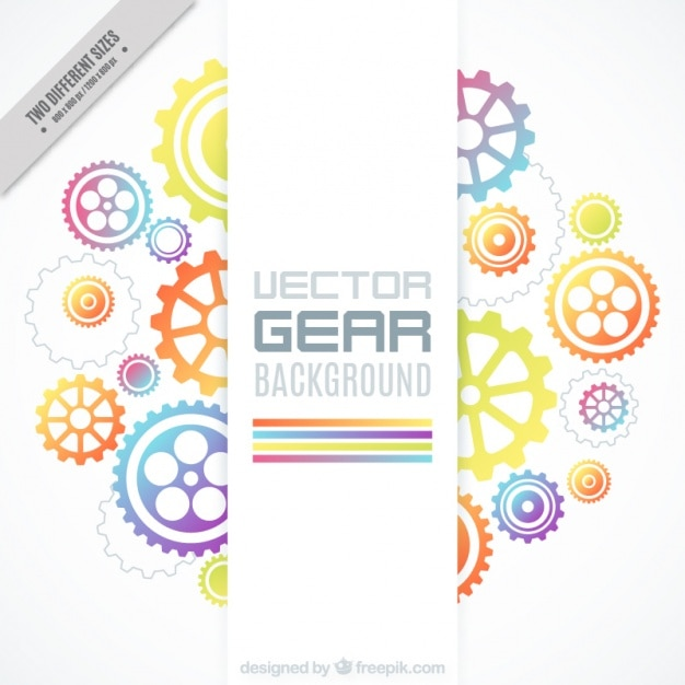 Background of colorful gears in flat design Free Vector