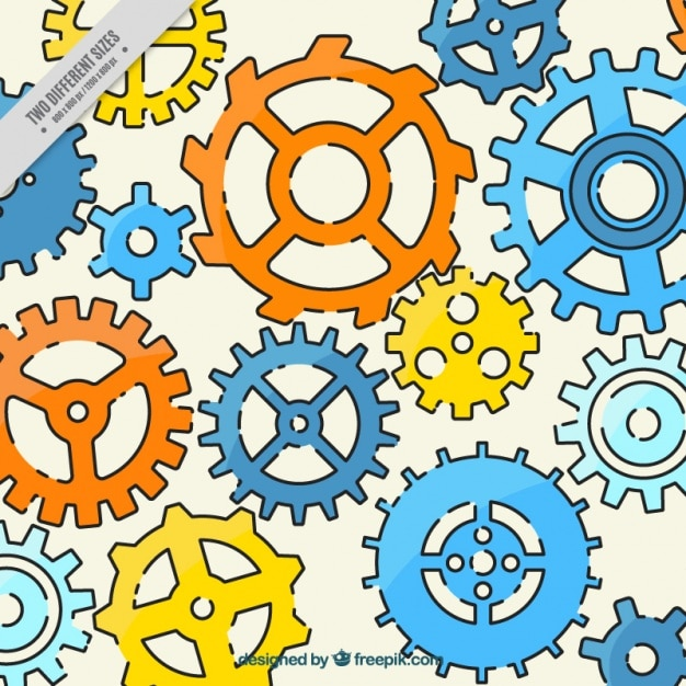 Background of colorful machinery Free Vector