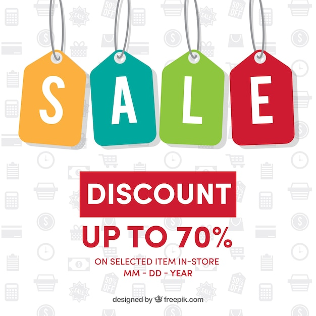 Background of colorful sale labels Free Vector