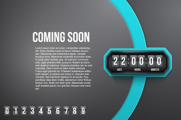 Background coming soon and countdown timer. Premium Vector