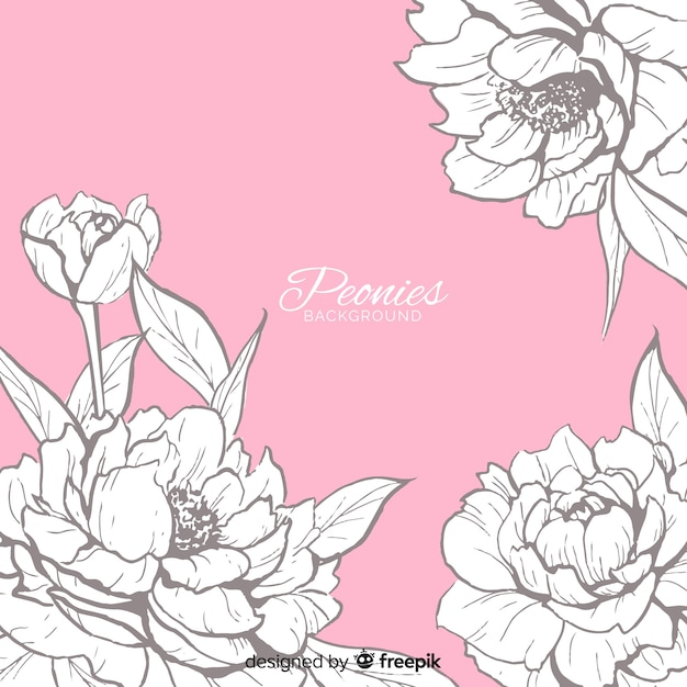 Background concept of peony flowers Free Vector