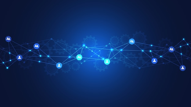 Background of connecting people and communication concept, social network. Premium Vector