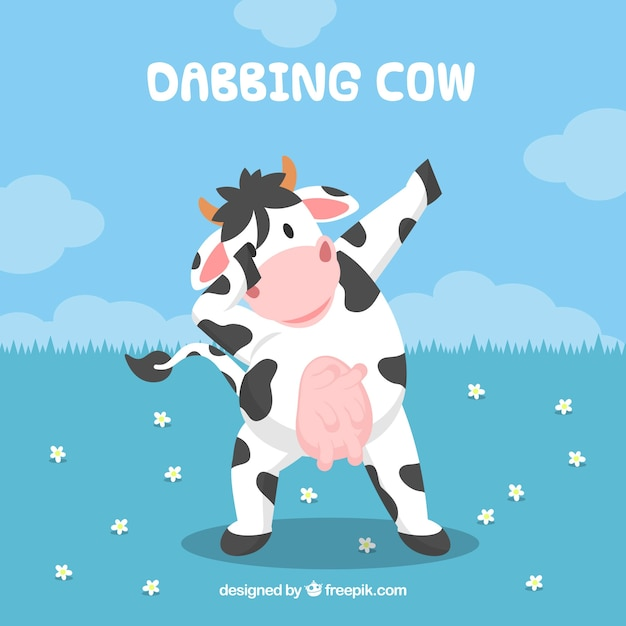 Background of cow doing dabbing movement Free Vector
