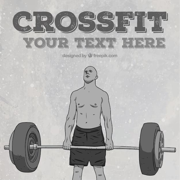 Sfondo di crossfit e uomo sollevamento pesi mano disegnato Vettore gratuito