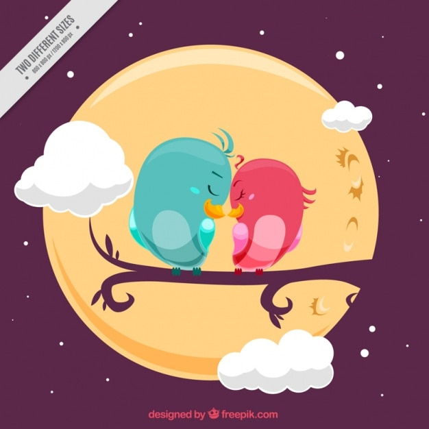 Background of cute birds in love and full moon Free Vector