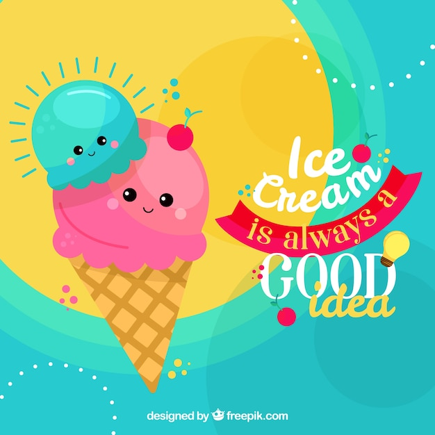 Background of cute ice-cream with phrase Free Vector