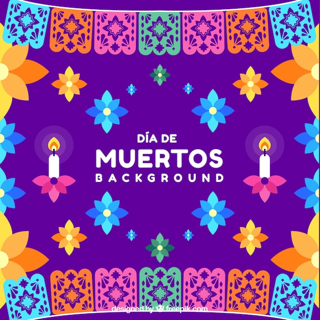 Background of the day of the dead with colorful flowers Free Vector