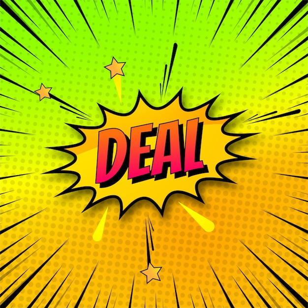Background of deal in comic style pop art design Free Vector