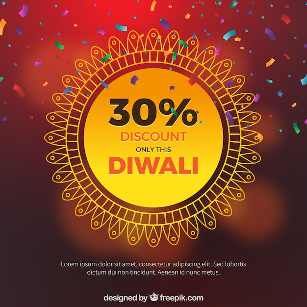 Background defocused with diwali sales confetti