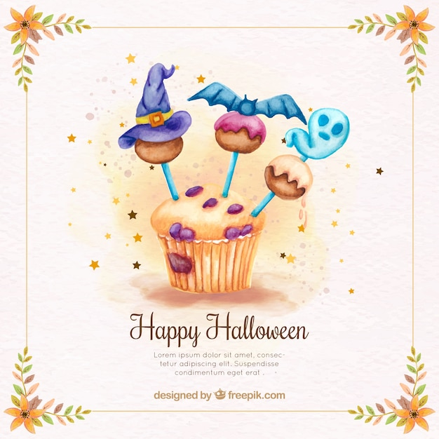 Background of delicious cupcake with halloween decoration Free Vector