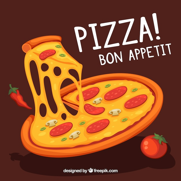 Background of delicious pizza with cheese Free Vector