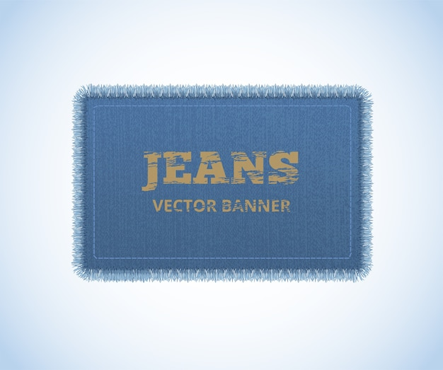 Background of denim texture. jeans realistic banner. Premium Vector