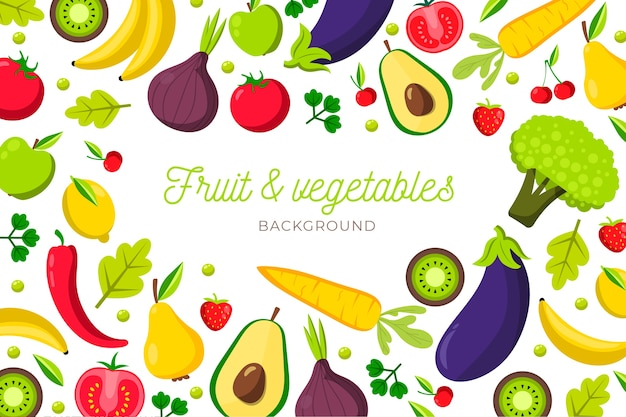 Background design fruit and vegetables Free Vector