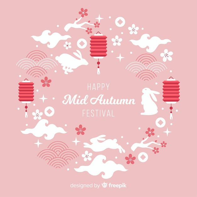 Background design for mid autumn festival Free Vector