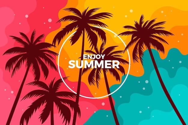Background design palm silhouettes Premium Vector