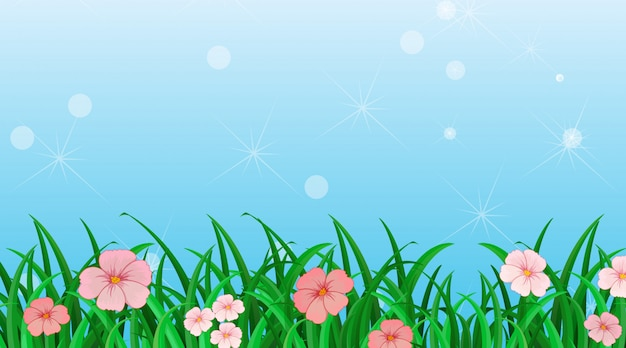 Background design template with flowers in the garden Free Vector