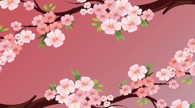 Background design template with pink flower or sakura on the tree Free Vector