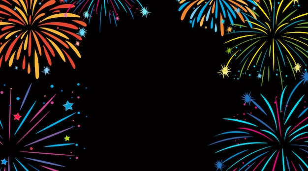 Background design with colorful fireworks Free Vector