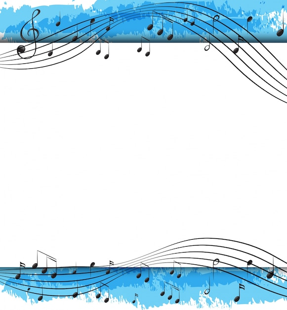 Background design with musical notes on scales Free Vector