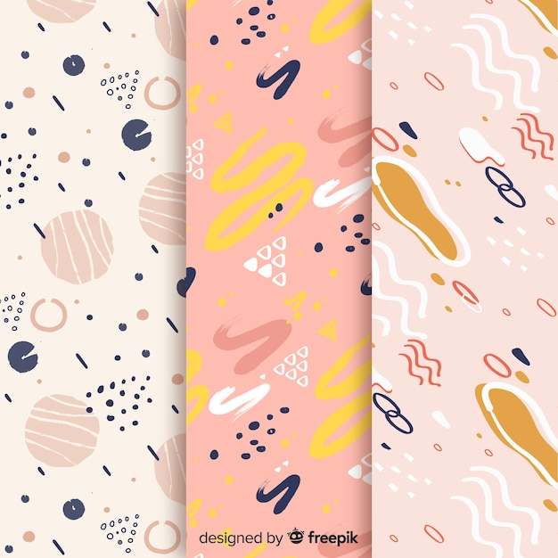 Background design with pattern collection Free Vector