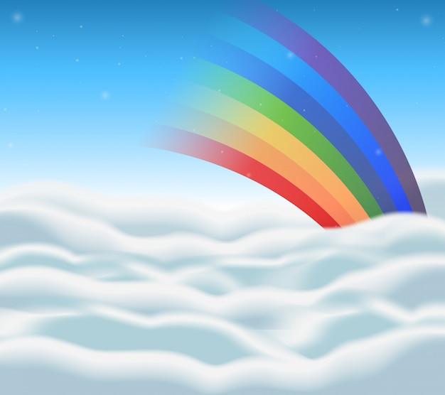 Background design with rainbow in the sky Free Vector