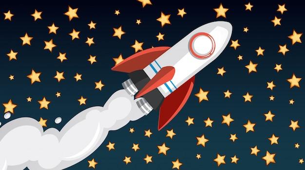 空を飛んでいる宇宙船と背景デザイン 無料ベクター
