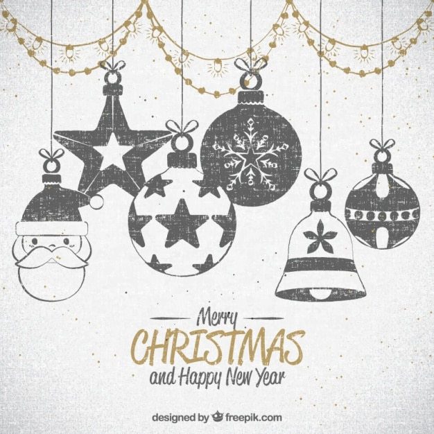 Drawings Of Christmas Ornaments.Background Of Drawings Of Christmas Ornaments Vector Free