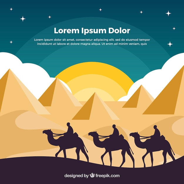 Background of egypt pyramids landscape with caravan of camels Free Vector