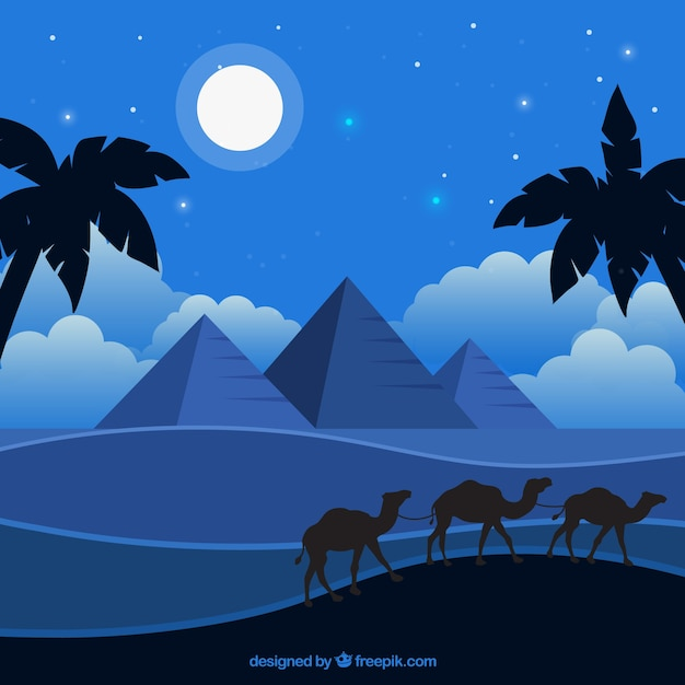 Background of egypt pyramids night landscape with caravan of camels Free Vector
