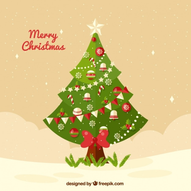 Background of elegant christmas tree Free Vector