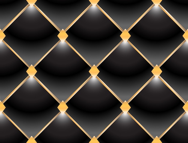 Background of elegant quilted pattern vip black and gold Premium Vector