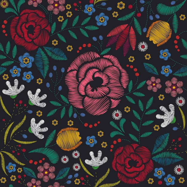 Background of embroidery floral Premium Vector