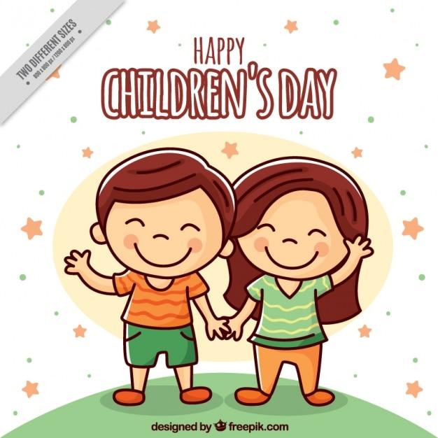 Background of enjoyable children couple Free Vector