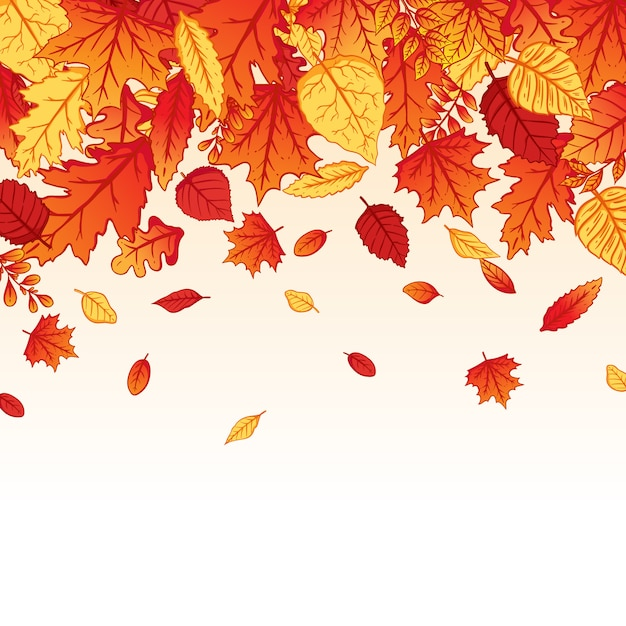 Background falling autumn leaves with colorful hand drawn style Premium Vector
