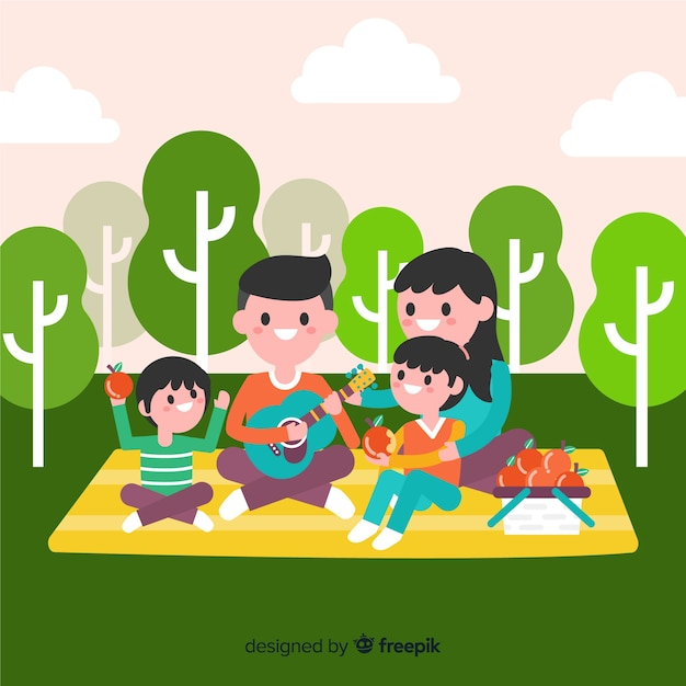Background family making a picnic Free Vector