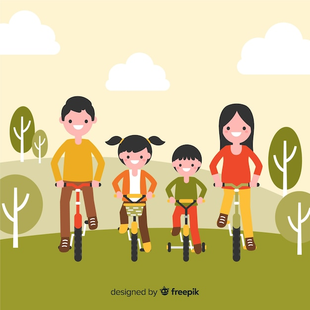 Background family riding bikes Free Vector