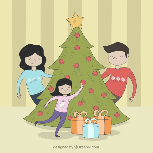Free Vector | Background of family scene with christmas ...