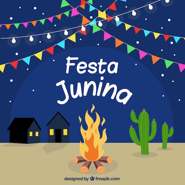 Background Of Festa Junina With Campfire At Night Free Vector