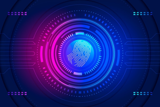 Background fingerprint neon Free Vector