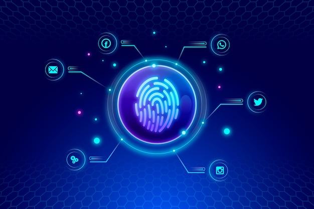 Neon di impronte digitali di sfondo Vettore gratuito