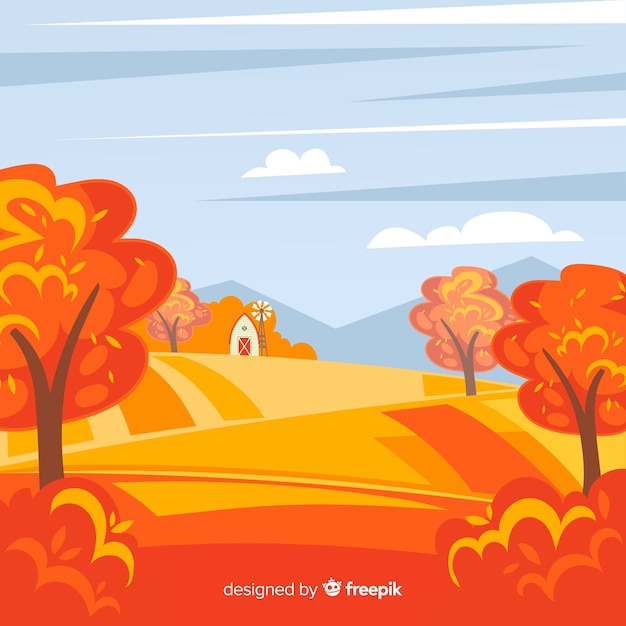 Background of flat autumn landscape Vector | Free Download