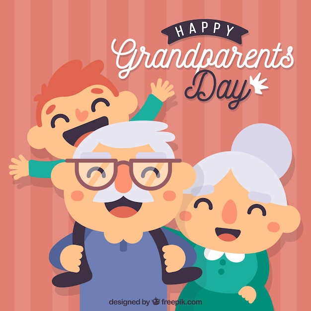 Background in flat design of grandparents day with his grandson Free Vector